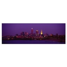 Buildings lit up at night, Cleveland, Ohio Framed Print